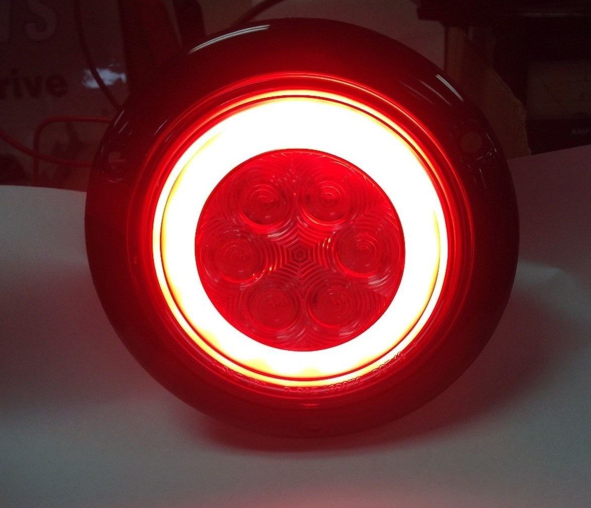 2 Red Led 4 U2033 Round Truck Trailer Brake Stop Turn Tail